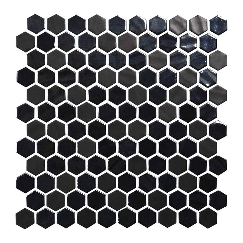 """Dal-Tile Uptown Glass 1"""" x 1"""" Mosaic Hexagon Wall Tile in Ebony, , large"""