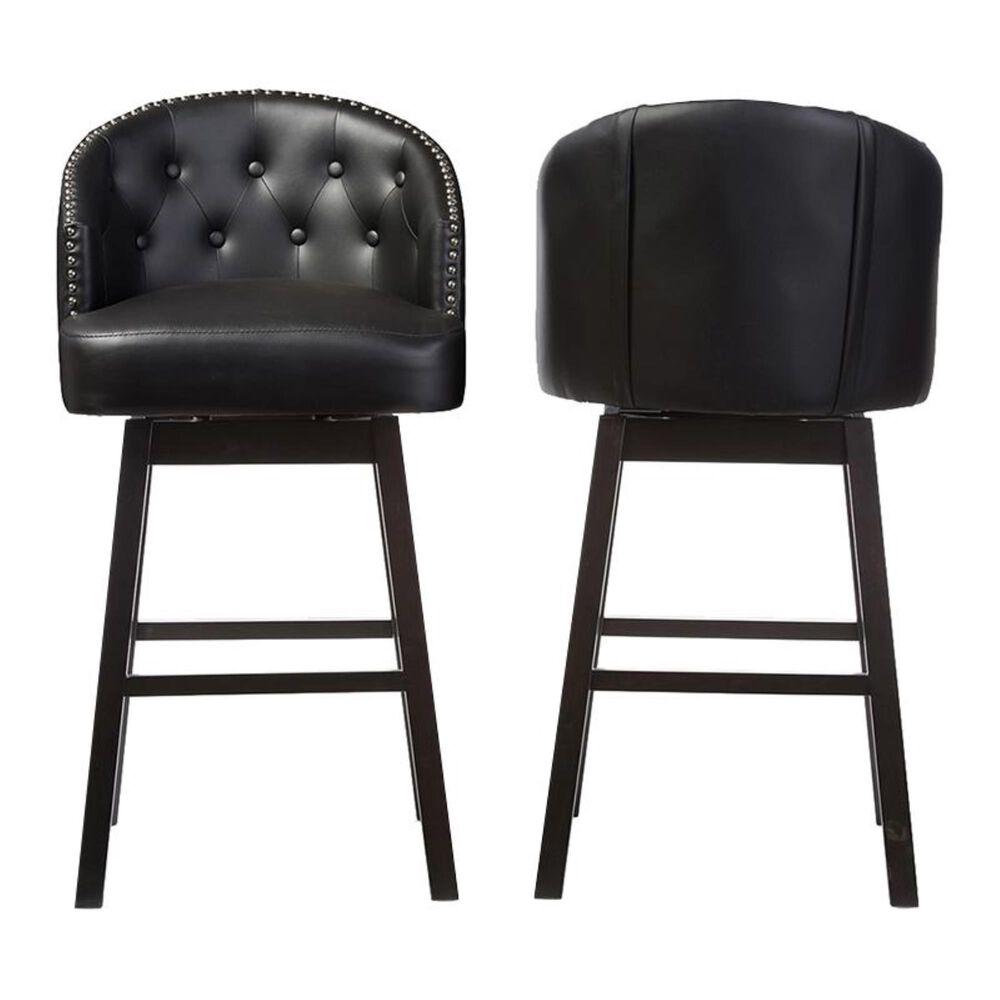 Baxton Studio Swivel Barstool with Nail Head Trim in Black - Set of 2, , large