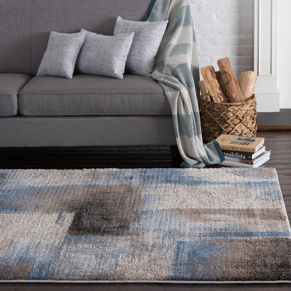 """Central Oriental Structures Torrent Flame 6224MD 5' x 7'6"""" Blue and Brown Area Rug, , large"""