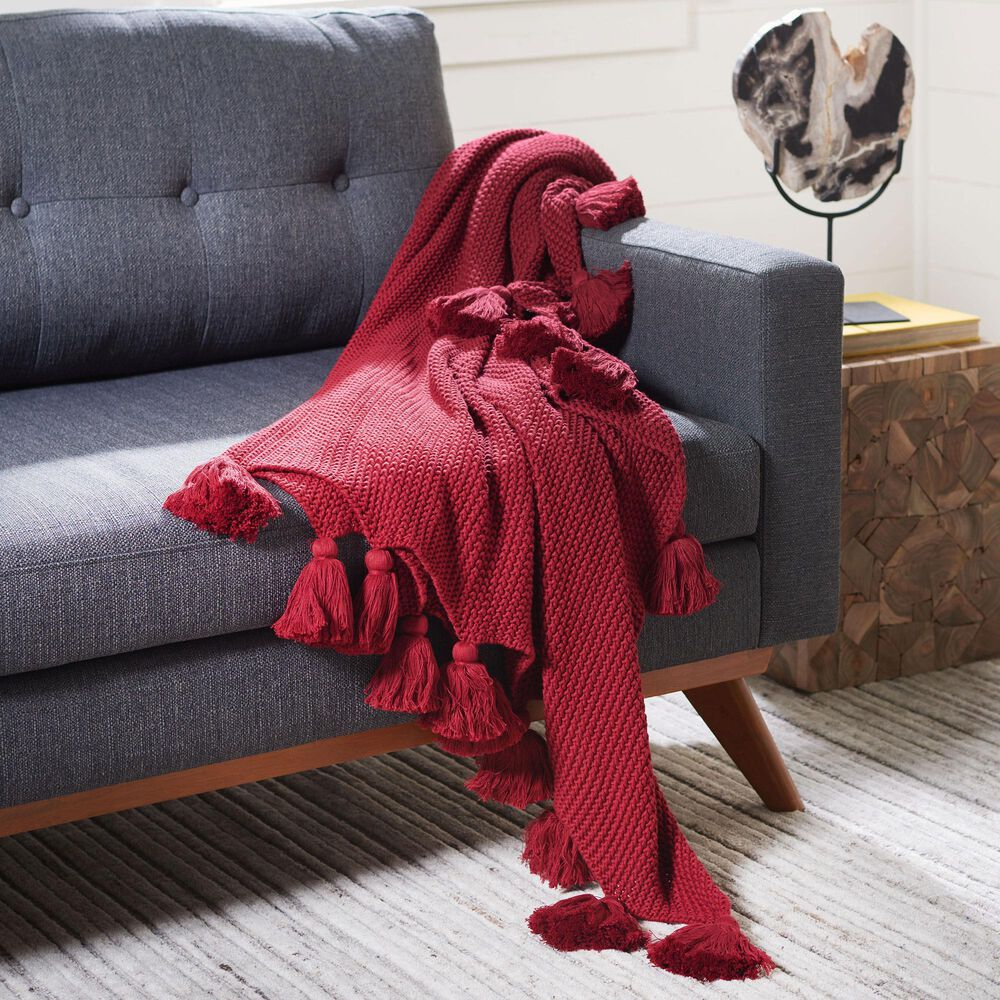 """Safavieh Brantley 50"""" x 60"""" Throw in Red, , large"""