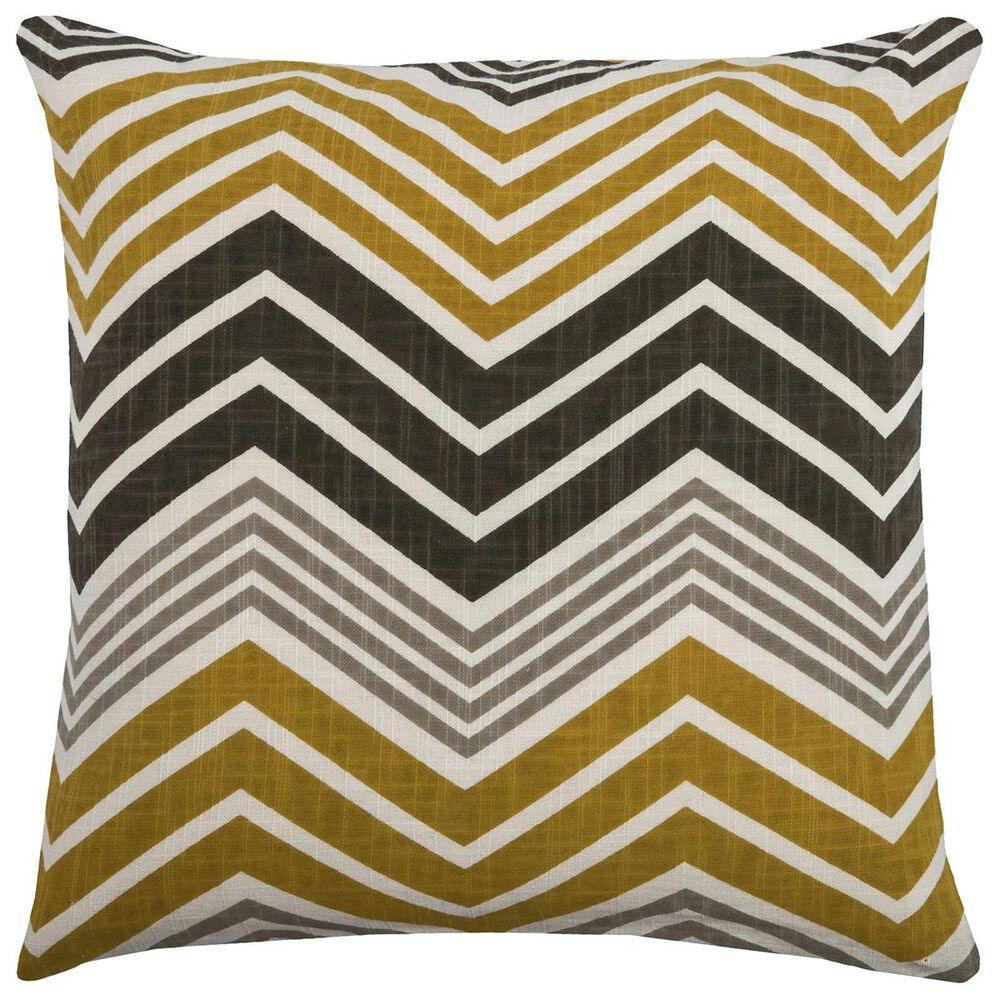 """Rizzy Home 18"""" x 18"""" Chevron Pillow Cover in Yellow and Black, , large"""