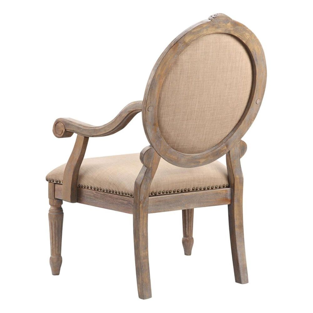 Hampton Park Madison Park Oval Back Exposed Wood Arm Chair in Linen, , large