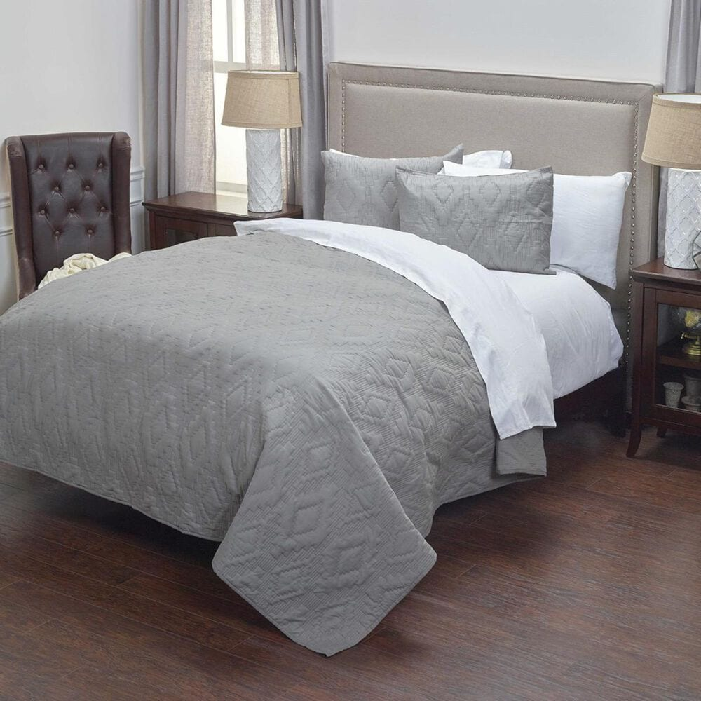 """Rizzy Home Tapper 20"""" x 26"""" Standard Sham in Gray, , large"""