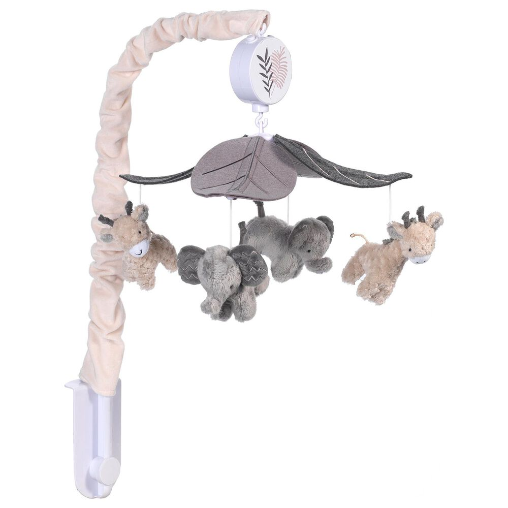 Lambs and Ivy Baby Jungle Animals Musical Crib Mobile in Gray and Tan, , large