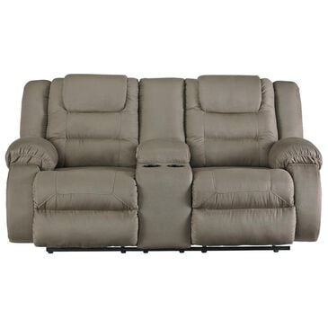 Signature Design by Ashley McCade Double Manual Reclining Loveseat with Console in Cobblestone, , large