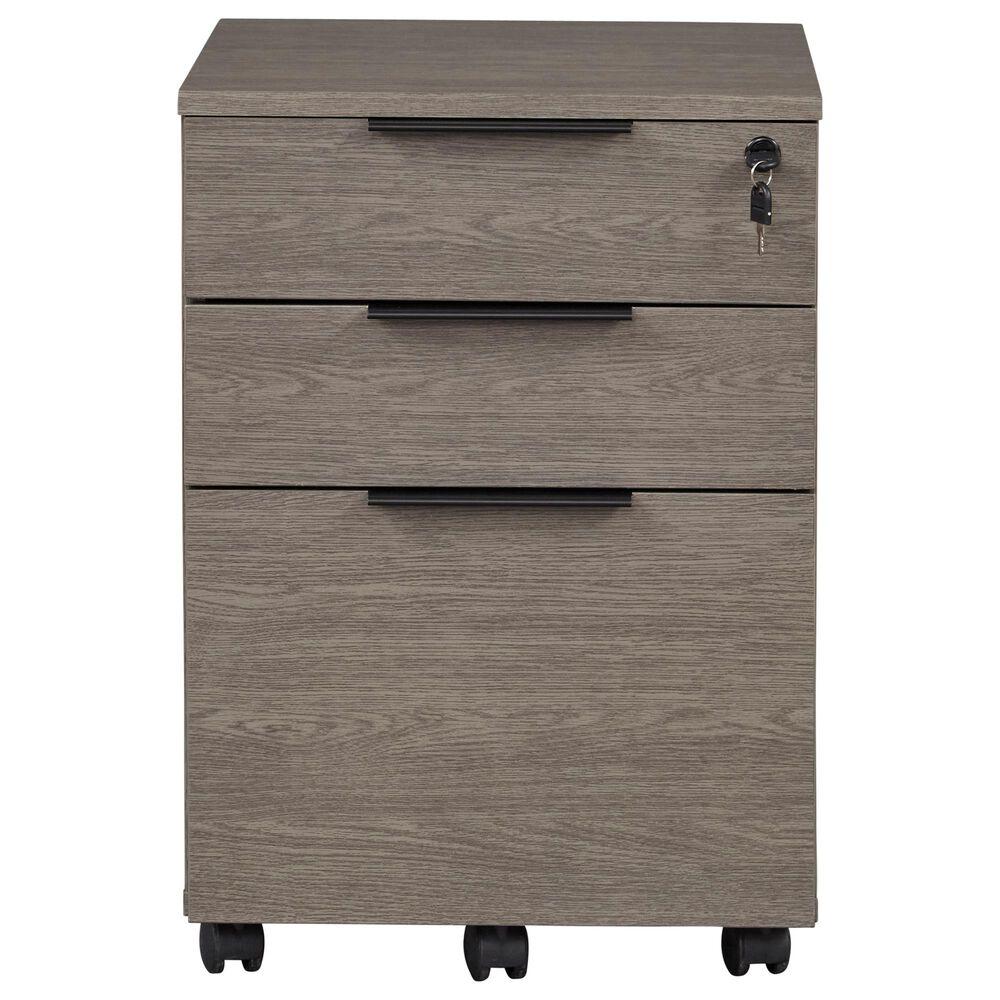 Unique Furniture Stavanger Mobile Pedestal in Dark Grey and Black, , large
