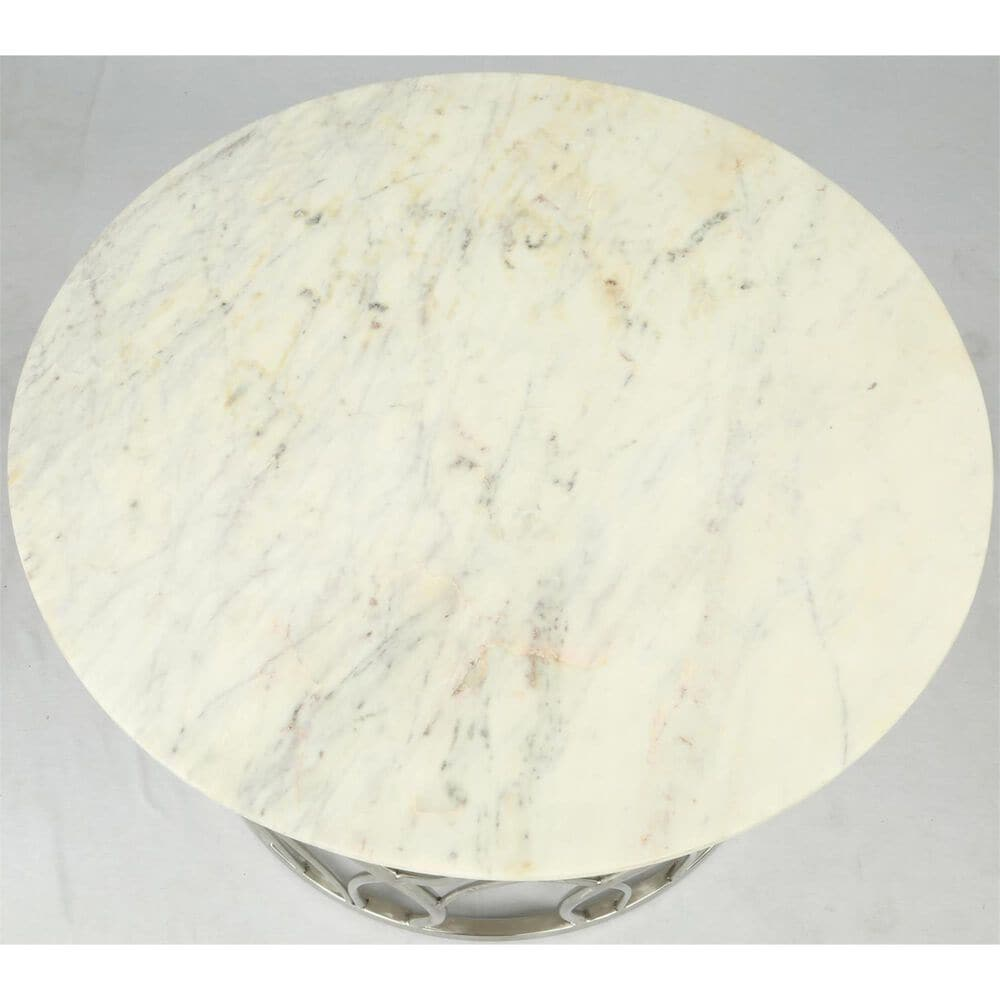 Shannon Hills Ulysses Round Coffee Table in Polished Steel and Marble, , large