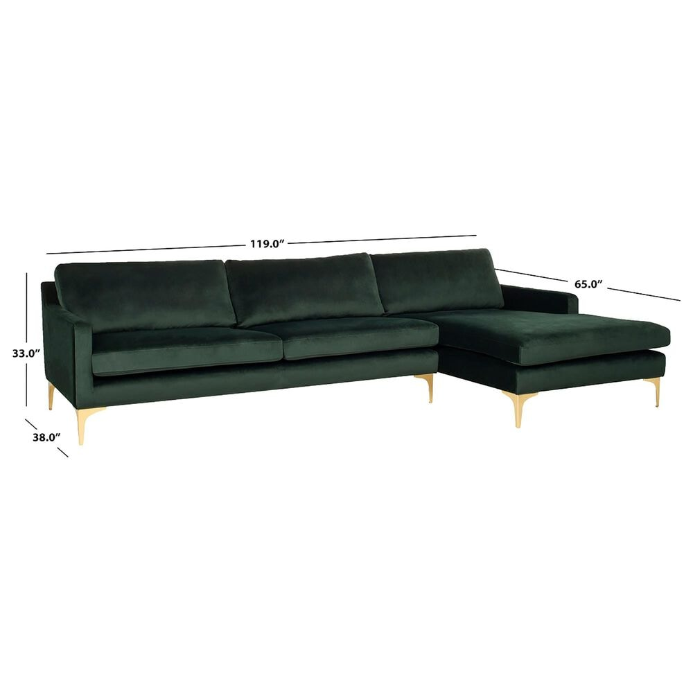Safavieh Brayson Sectional Chaise Sofa in Hunter Green, , large