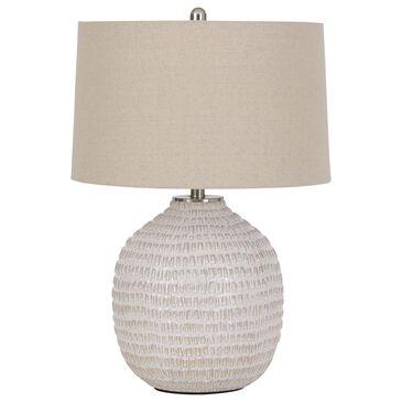 Signature Design by Ashley Jamon Ceramic Table Lamp in White Glaze, , large