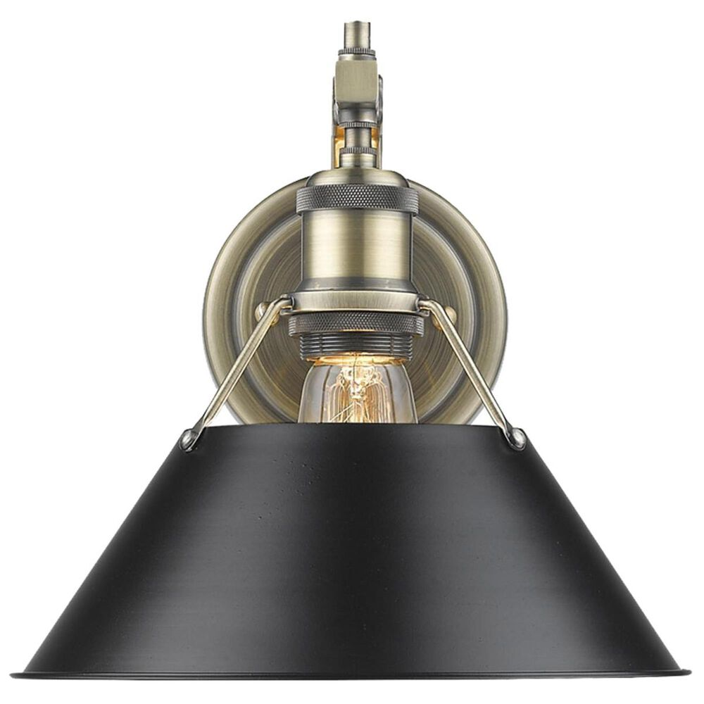 Golden Lighting Orwell AB 1-Light Wall Sconce in Aged Brass with a Black Shade, , large