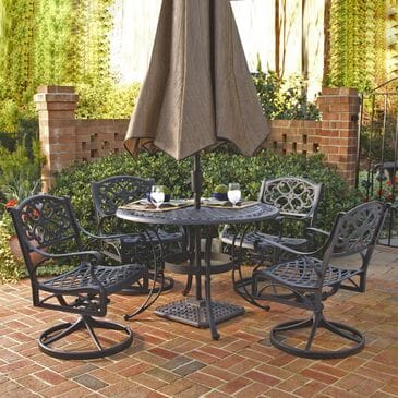 Home Styles Sanibel 5-Piece 48 in Dining Set with Swivel Chairs in Black, , large
