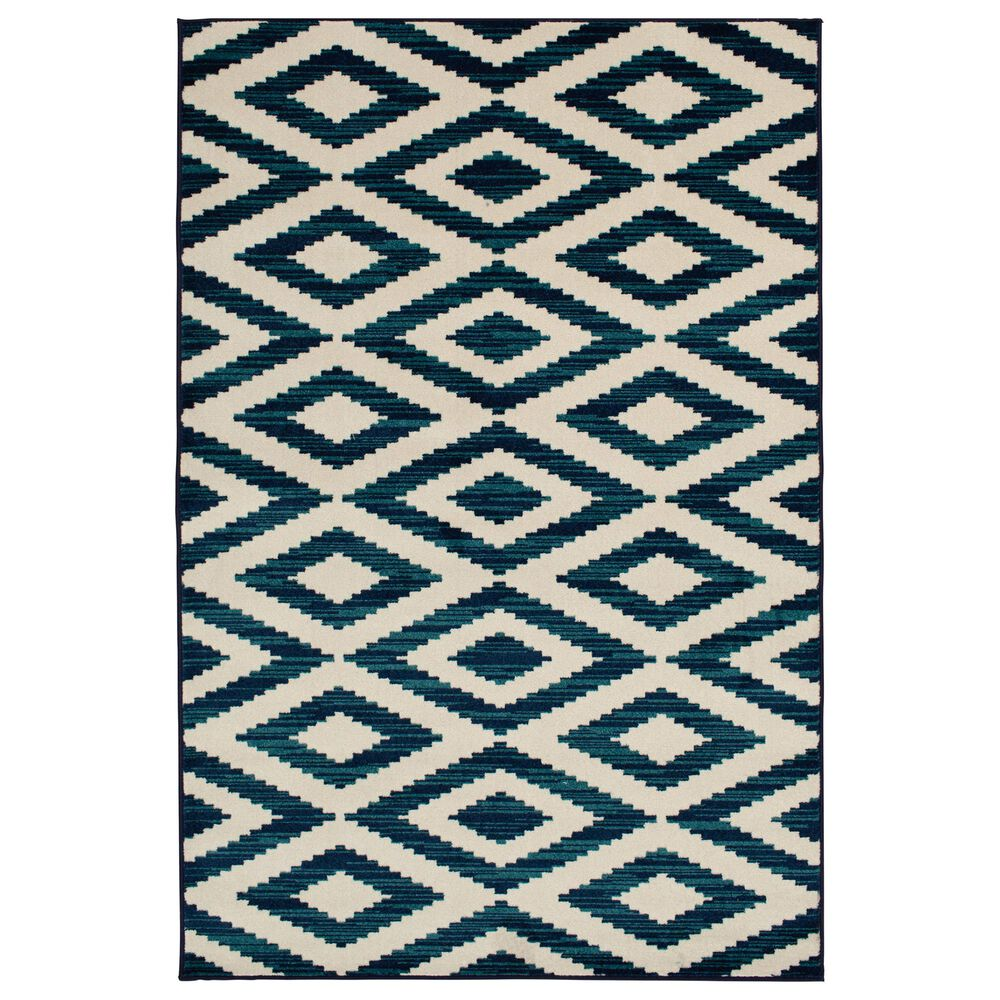 """Central Oriental Terrace Tropic Scalene 2345GGS.085 5' x 7'3"""" Snow and Sapphire Area Rug, , large"""