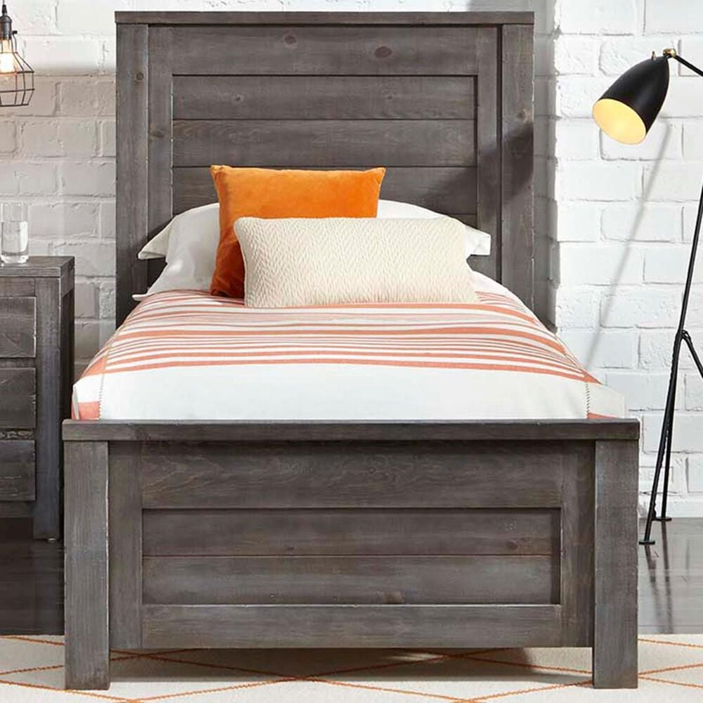 Tiddal Home Wheaton Twin Panel Bed in Charcoal Distressed, , large