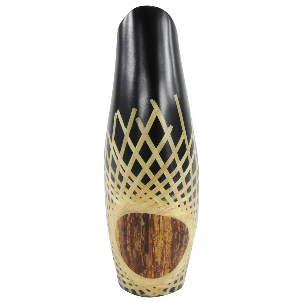 """Maple and Jade 17"""" x 11"""" Vase in Black, , large"""