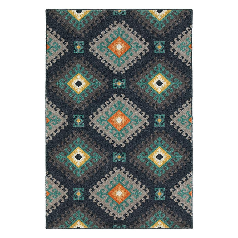 "Oriental Weavers Hampton 4929B 1""11"" x 7""6"" Navy Runner, , large"