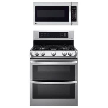 LG 2-Piece Kitchen Package with 6.9 Cu. Ft. Gas Double Oven Range and 2 Cu. Ft. Microwave Oven EasyClean in Stainless Steel, , large