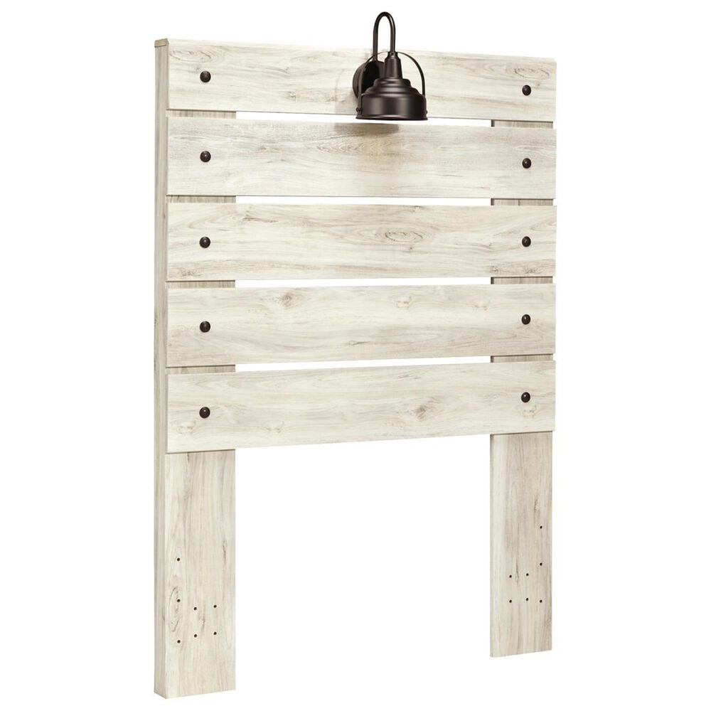 Signature Design by Ashley Cambeck Twin Panel Bed in Whitewash with Lighting, , large