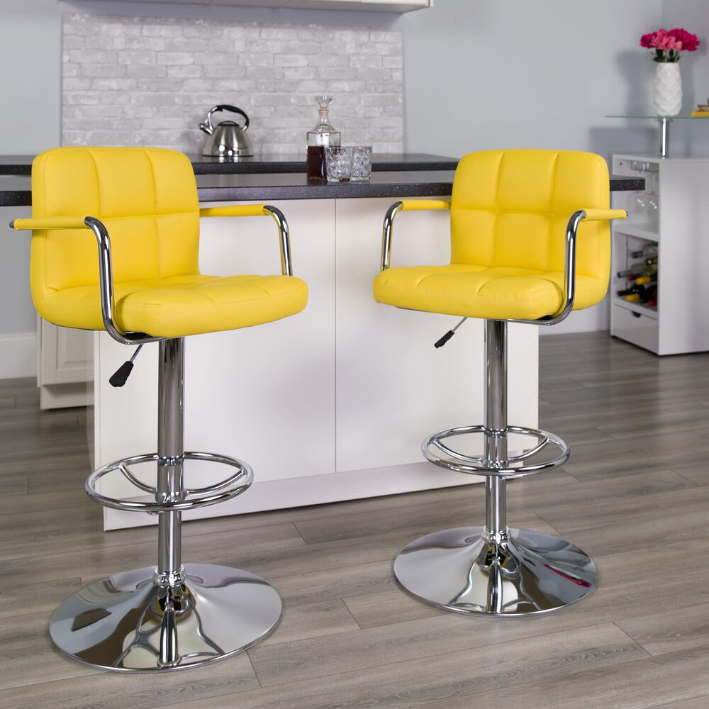"""Flash Furniture 45.25""""Adjustable Height Barstool in Yellow, , large"""