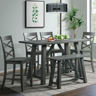 Mayberry Hill Renegade 6 Piece Counter Height Dining Set in Grey, , large