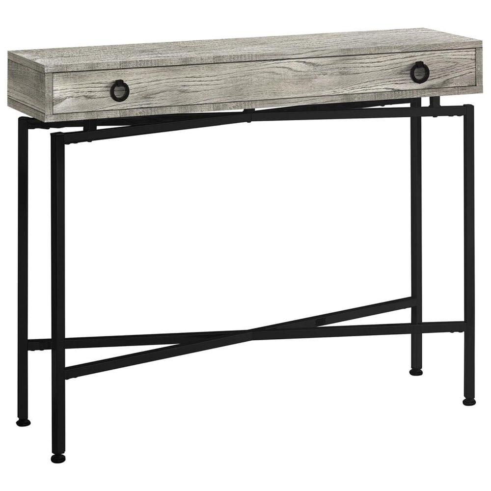 "Monarch Specialties 42"" Accent Table in Grey Reclaimed Wood and Black, , large"