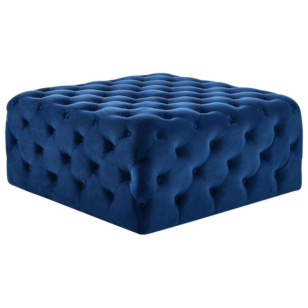 Crystal City Belham Tufted Ottoman in Navy, , large