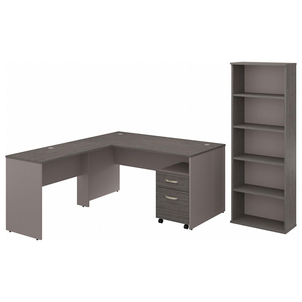 Bush Contemporary 3-Piece L-Shaped Desk Set in Pewter and Cocoa , , large