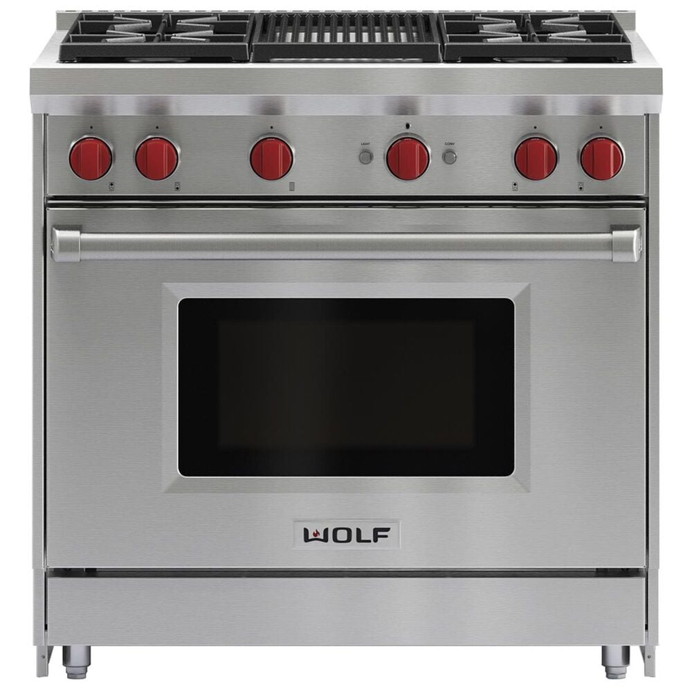 """Wolf 36"""" Dual Fuel 4-Burner with Grill in Stainless Steel, , large"""