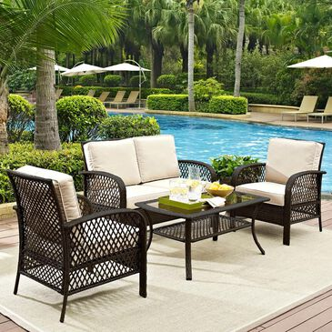 Crosley Furniture Tribeca 4-Piece Outdoor Conversation Set in Sand and Brown, , large