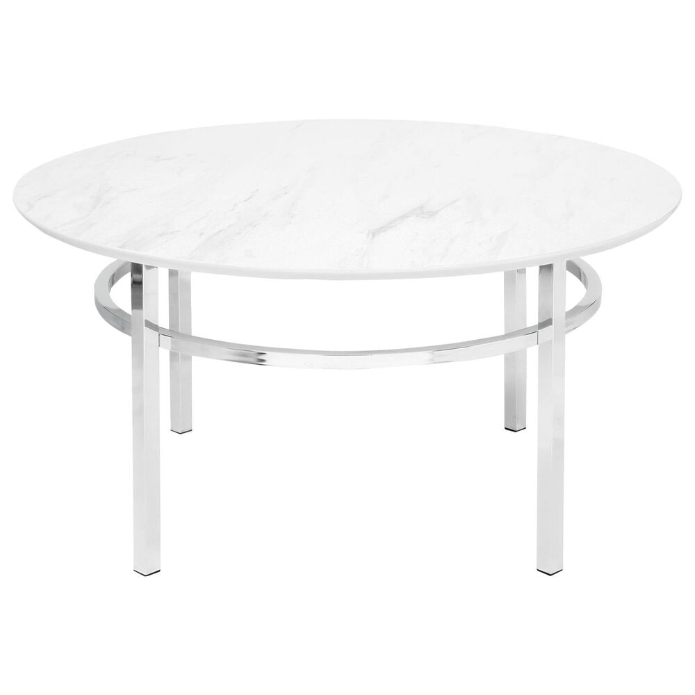 Furniture of America Ritter Coffee Table in White and Chrome, , large
