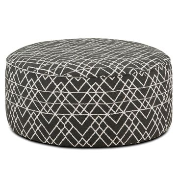 Xenia Round Cocktail Ottoman in Hyphen Onyx, , large