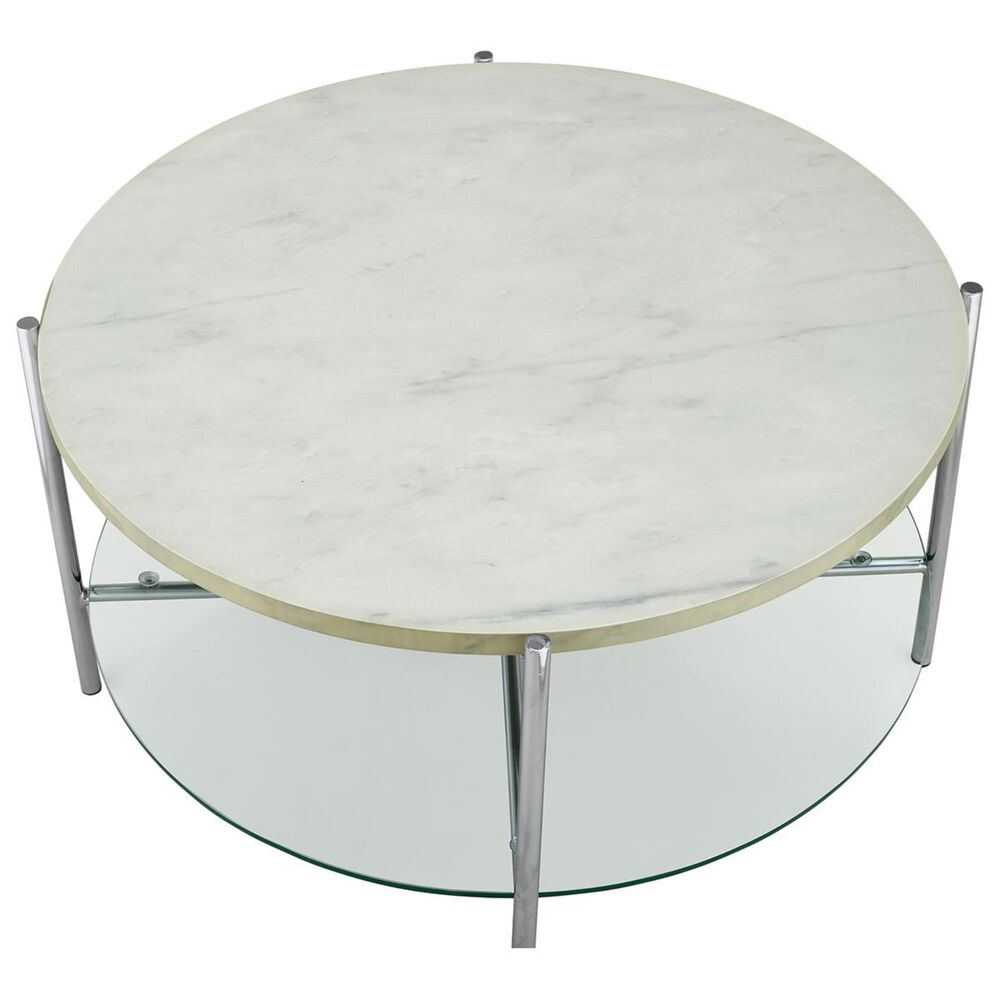 Walker Edison Simone Round Coffee Table in Faux White Marble and Chrome, , large