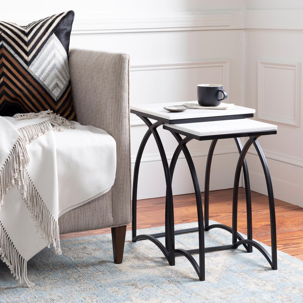 Surya Inc Evana Nesting Table Set in White Marble and Black, , large