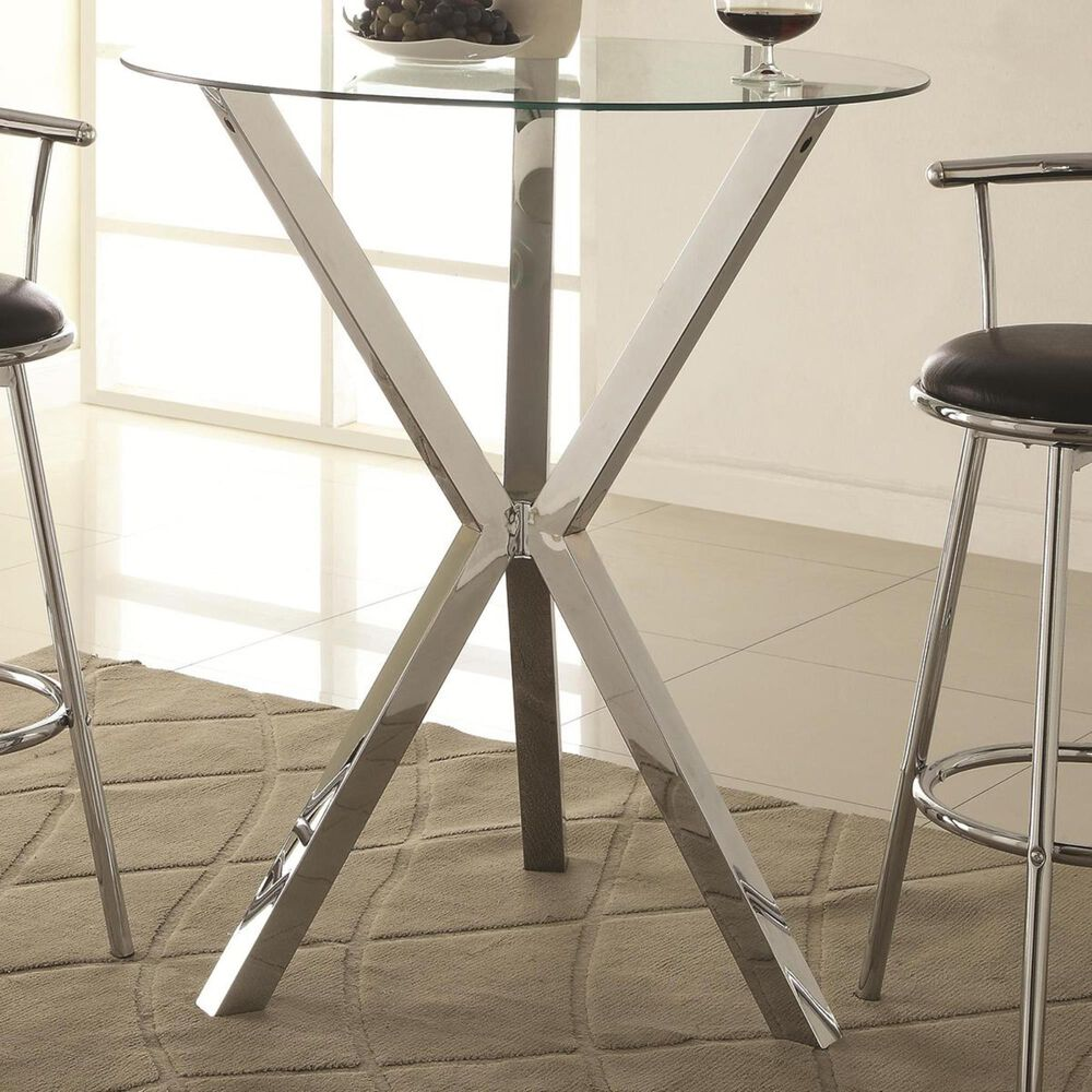 Pacific Landing Bar Table in Chrome, , large