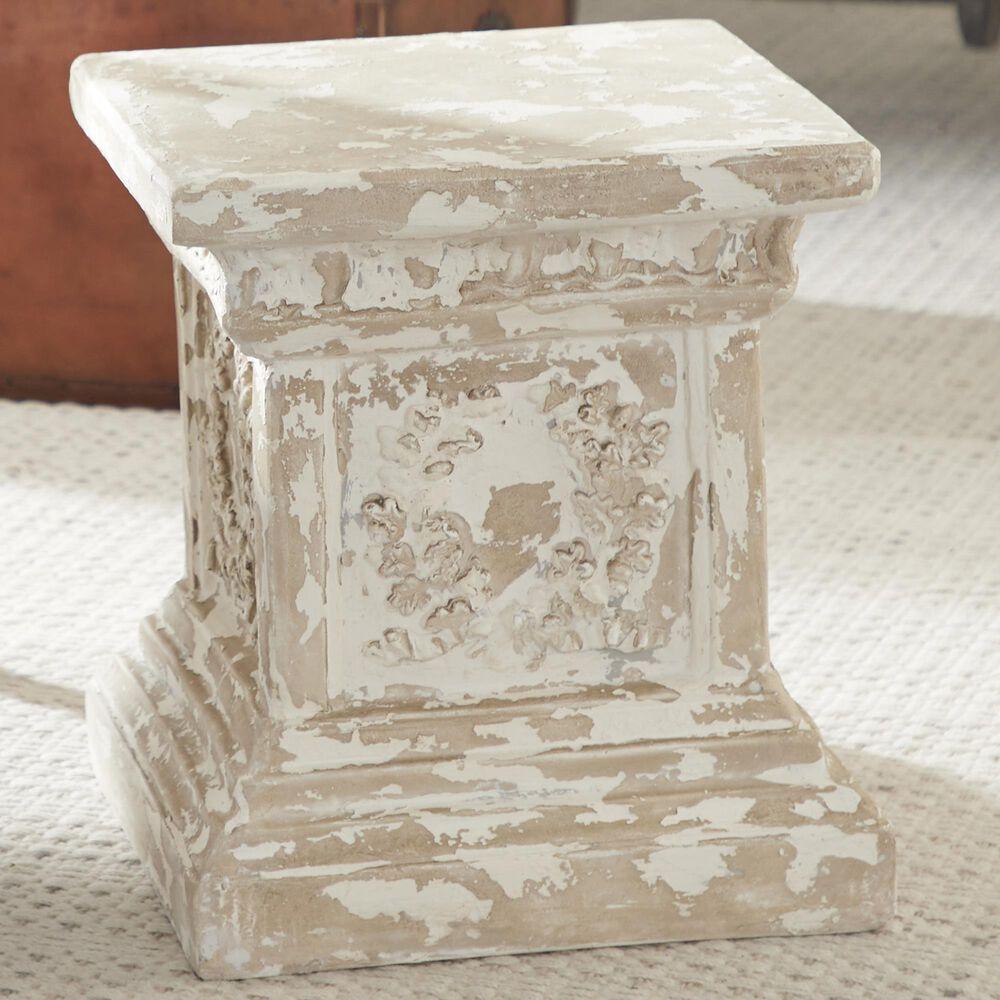 "Maple and Jade 15"" Vintage Resin Pedestal Table in Beige, , large"