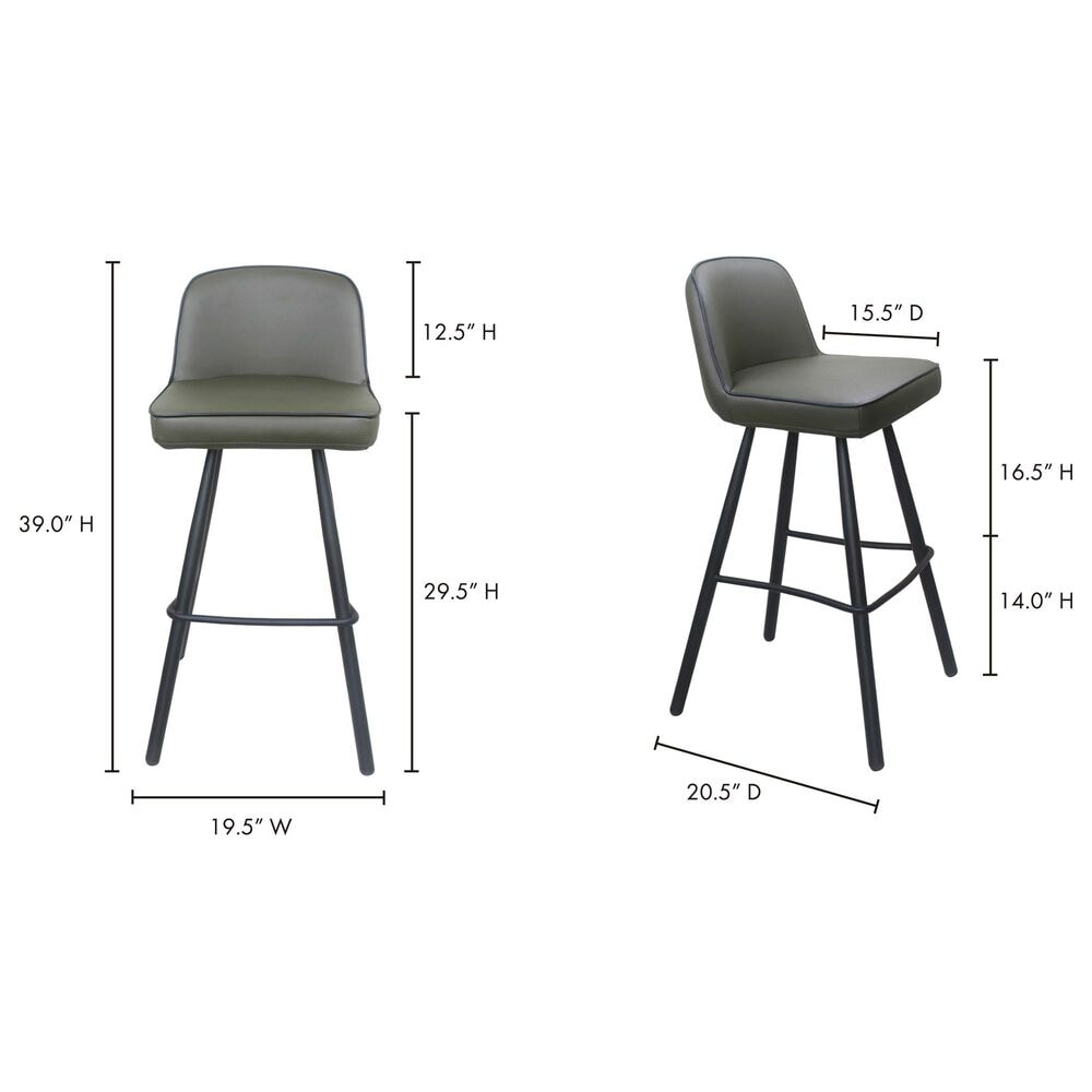 Moe's Home Collection Eisley Barstool in Green, , large