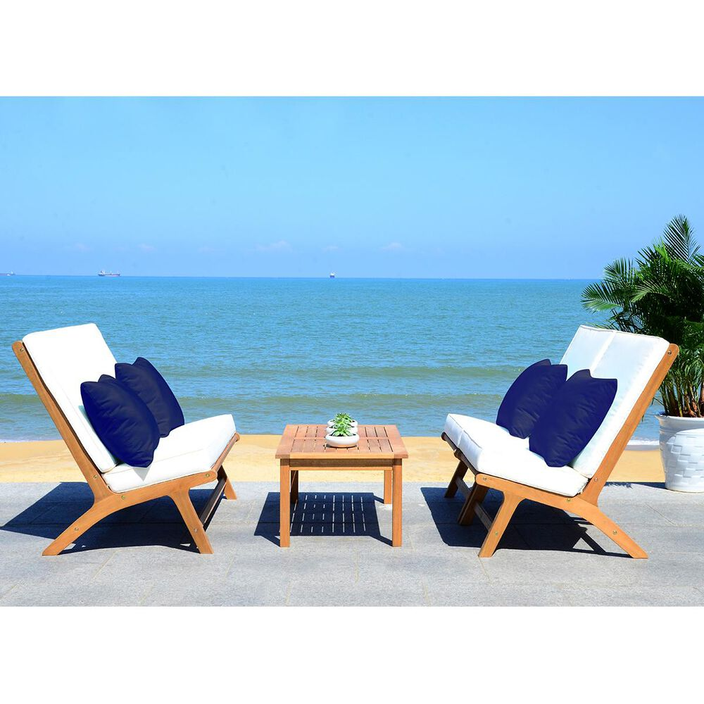 Safavieh Chaston 4-Piece Outdoor Living Set in Natural, White, and Navy, , large