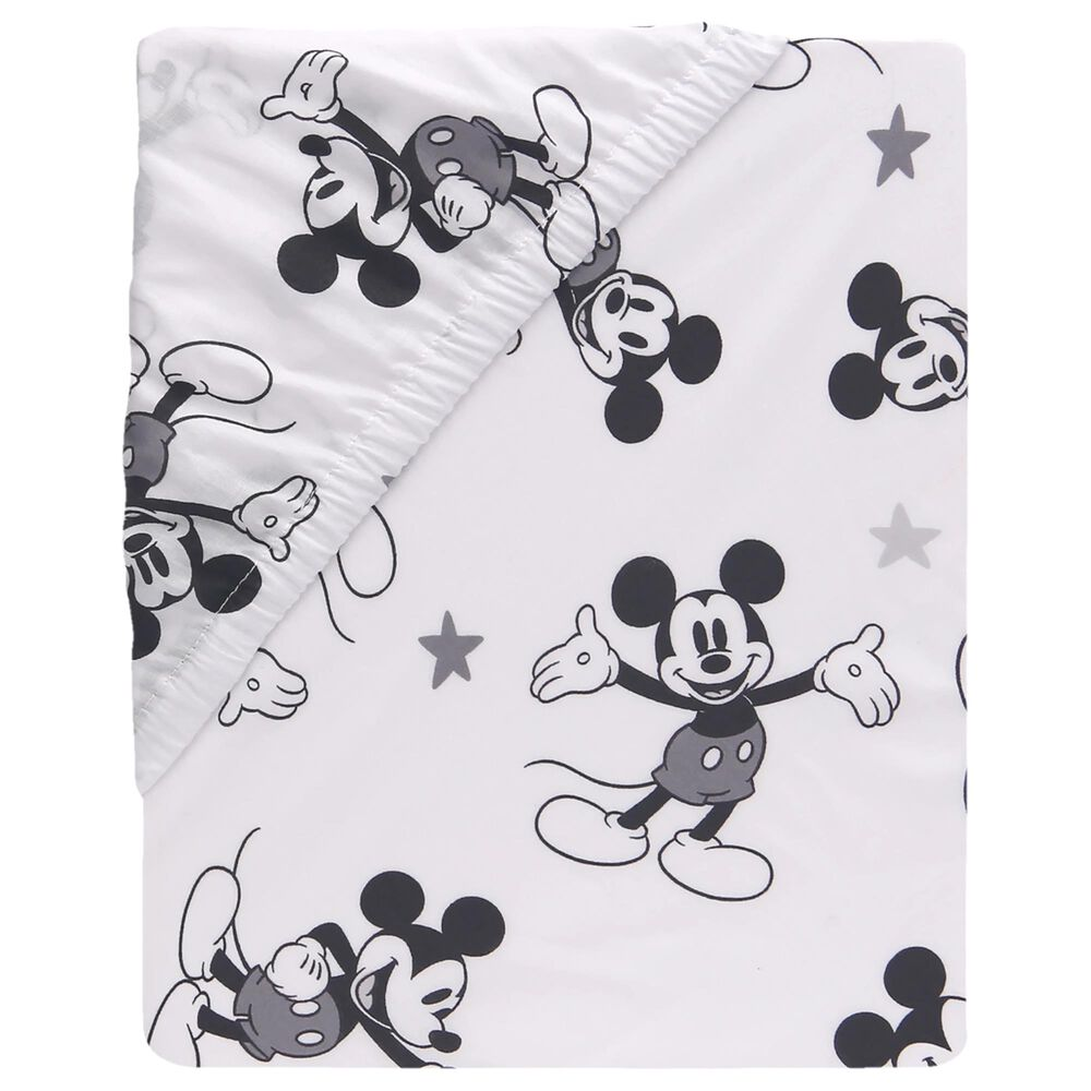 Lambs and Ivy Mickey Mouse Fitted Crib Sheet in White, Black and Grey, , large