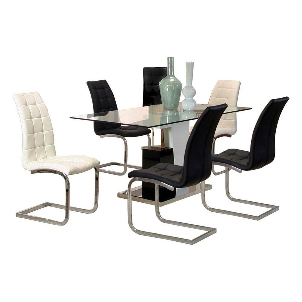 Penny Lane Padria 7-Piece Dining Set in Black and White, , large