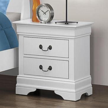 Pacific Landing Louis Philippe 2-Drawer Nightstand in White, , large
