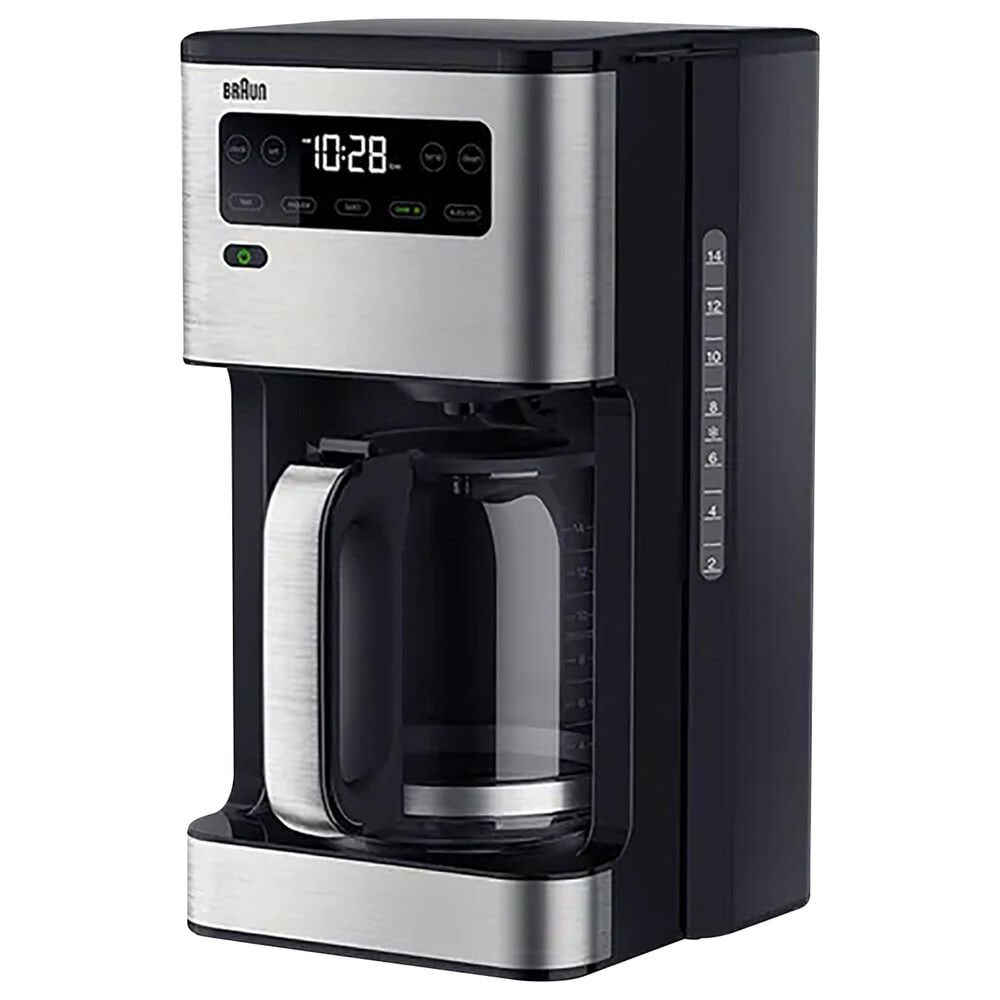 Braun 14-Cup PureFlavor Coffee Maker in Stainless Steel and Black, , large