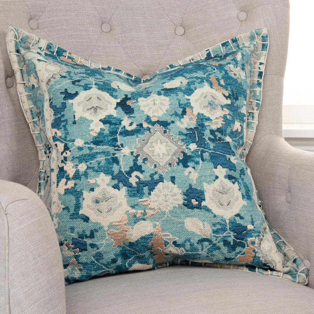 """Rizzy Home 20"""" Pillow Cover in Blue, , large"""