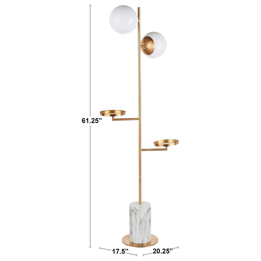 Lumisource Butler Floor Lamp in White and Gold, , large