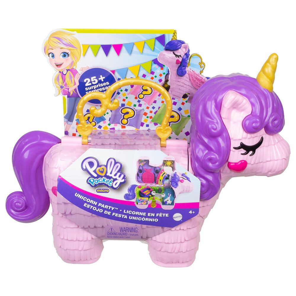 Mattel Polly Pocket Unicorn Party Playset, , large