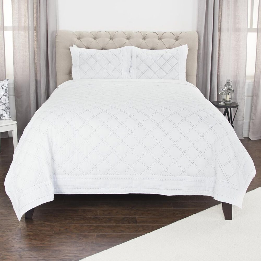 """Rizzy Home Rappaport 106"""" x 92"""" Quilt in White, , large"""