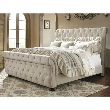 Signature Design by Ashley Willenburg Queen Upholstered Bed in Linen, , large