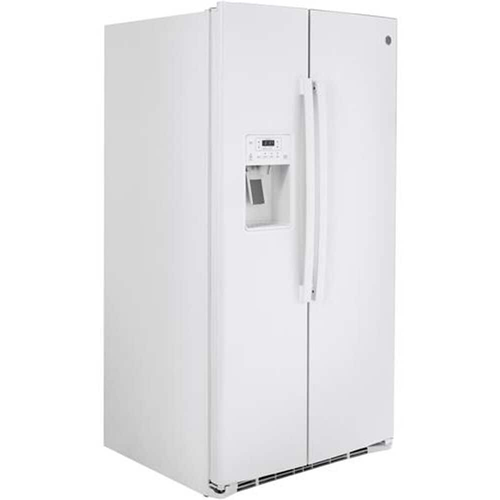 GE Appliances 25.1 Cu. Ft. Side-by-Side with External Dispenser in White , , large
