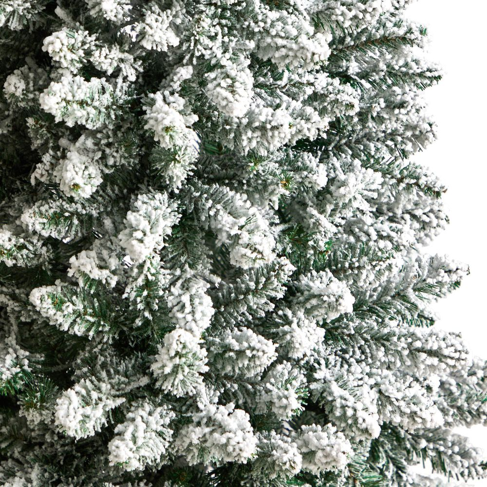 Nearly Natural Inc 5ft. Slim Flocked Montreal Fir Artificial Christmas Tree with Warm White LED Lights, , large