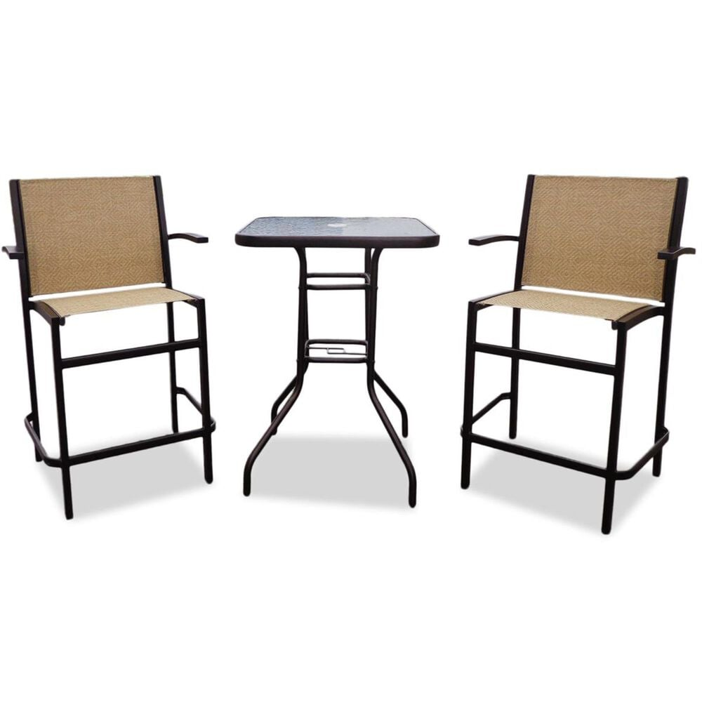 Global Note Collections South Beach 3-Piece Counter Height Bistro Set in Bronze, , large