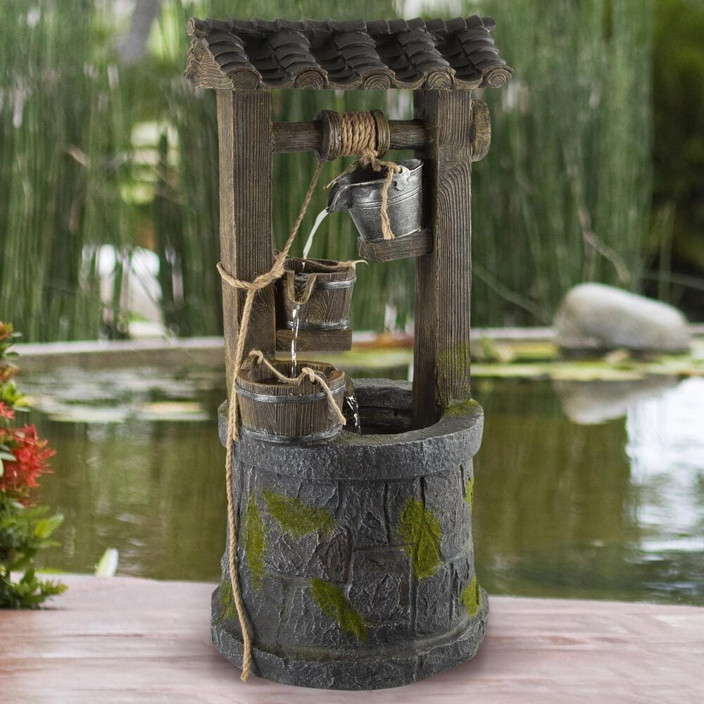 Timberlake Pure Garden 4-Tier Wishing Well Fountain in Stone/Weathered Wood, , large