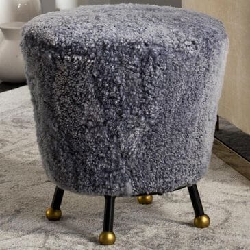 Safavieh Oriana Fur Ottoman in Light Blue, , large